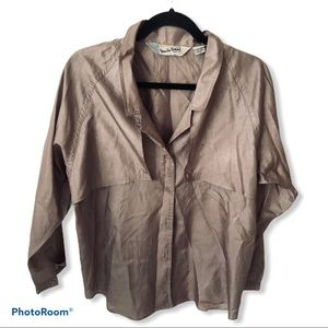 Vintage DVF Bronze Button Down Blouse
